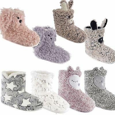 Ladies Plush Bootee Novelty Indoor Slippers with Faux Fur lining Shoe Sizes  3-8