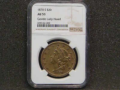 1870-S $20 TWENTY D Liberty Head Gold Double Eagle NGC AU 50 Granite Lady Hoard