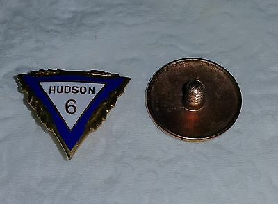 1930's Hudson 6 Car Auto Gold Filled GF Cloisonne Lapel Pin with Screw Back