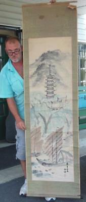 Signed Antique Chinese Pagoda & Boat Watercolor Scroll Painting Asian Japanese
