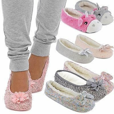 Ladies Novelty Unicorn Coral Fleece,Jersey Ballet Slippers with 3D Horn Tootsies