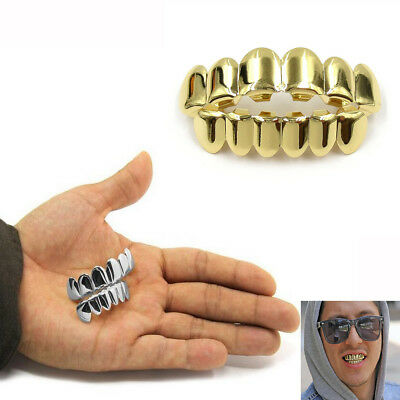 New Custom Fit 14k Gold Plated Hip Hop Teeth Grillz Caps Top&Bottom Grill Set