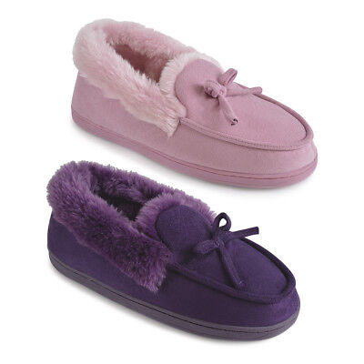 Ladies Polysuede Moccasin Slippers Plush Linning shoe size 3-8