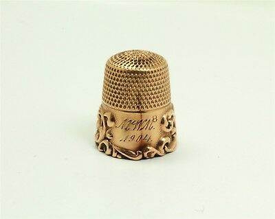 Antique c1900 Victorian Ornate Engraved Solid Gold Sewing Thimble 3.8g