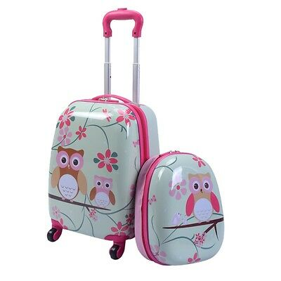 2 PC Children Kid Girl Rolling Carry-on Travel Suitcase Backpack Luggage Bag Set