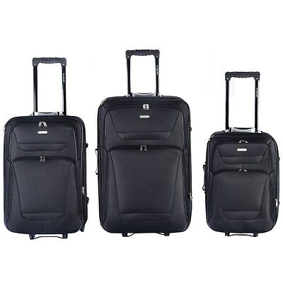3 pcs Black Rolling Carry-On Travel Expandable Suitcase Luggage Bag Set Wheels
