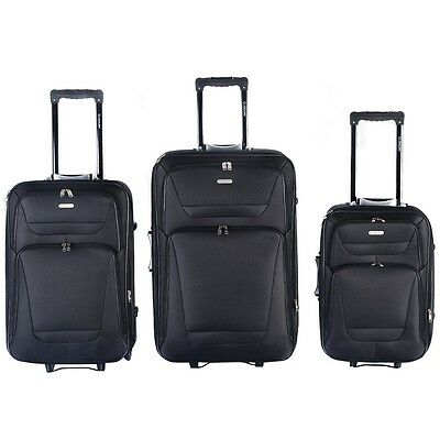 3pc Black Business Professional Rolling Carry-On Travel Suitcase Luggage Bag Set