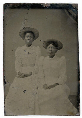 Lovely African American Black Women In White Dresses With Straw Sun Hats Tintype