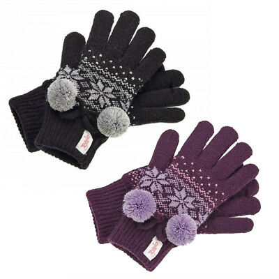 Kids/Girls Tottie Snowdon Thermal Fleecy Lined Warm Knitted Gloves Winter Riding
