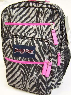 Nwt Jansport~Big Student~Grey Wild Heart Zebra Backpack/ School Bag /bookbag~New