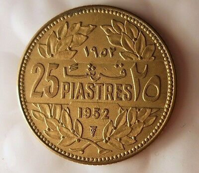 1952 LEBANON 25 PIASTRES - AU - Great Collectible Coin - Egypt/Lebanon Bin
