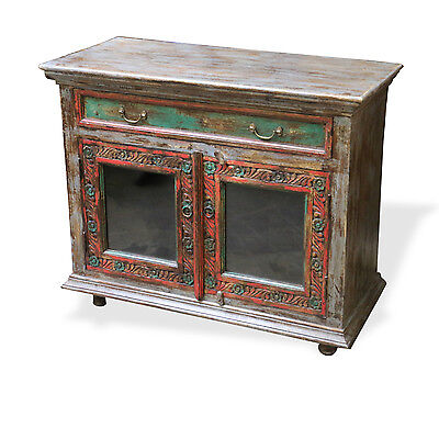 Reclaimed Indian Cabinet Chest Bedside table Kitchen Island Rustic carved Wood.