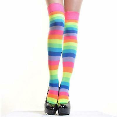 Angelina 12 Pair Dozen Women's Knee High Socks Neon Rainbow Striped 6753A