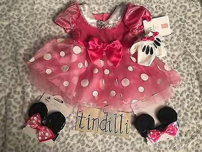 Disney Baby Minnie Mouse Costume Dress w/ Gloves 12m 18m + 2 bow ears headband