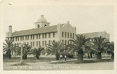 Mcallen Texas Real Photo Postcard La Casa De Las Palmas Vintage View