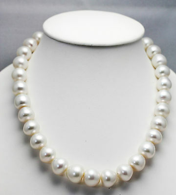 WHITE SOUTH SEA 16.7mm!! PEARL NECKLACE 100% NATURAL COLOUR+18ct GOLD CLASP+CERT
