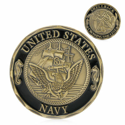 Gold Plated U.S. Navy Shellback Sailor Crossing the Line Commemorative Coin Gift