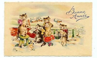 vintage cat mini calling card gift card tradecard cats in snow gifts CAT CHARITY