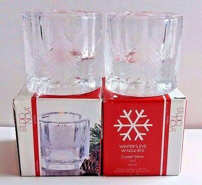 Studio Nova by Mikasa Crystal Votive Winter's Eve Glass Candle Holder ~ Lot of 2