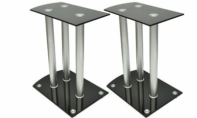 New 2pc Monitor Speaker Stand Safety Glass Floor Studio Aluminum Portable Black