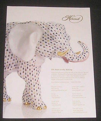 2008 Herend Porcelain Magazine Ad Large Colorful Elephant Mosaics Collection