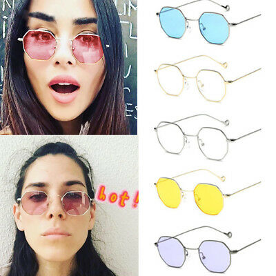Fashion Hexagon Square Sunglasses Mirrored Metal Frame Clear Glasses Men Women