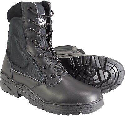 Black Leather Army Patrol Combat Boots Tactical Cadet Security Military 922