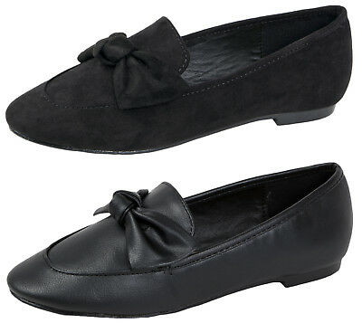 Girls Bow Loafers Flat Slip On Black School Shoes Ballerinas Dolly Ballet Pumps