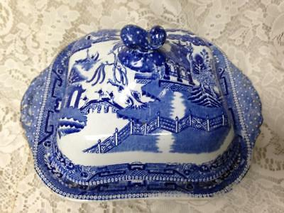 Antique, Ridgway, England, Blue Willow Covered Bowl-Soup Tureen 10.5inW x 6.5inT