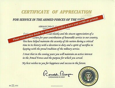 Certificate of Appreciation Replacement,  U.S. Presidents Thank you Letter
