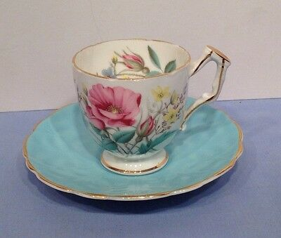 Aynsley China Pretty Flower Coffee Demi Cup and Saucer