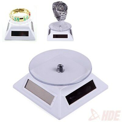 Solar Powered Rotating Rotary Jewelry Display Plate Stand Turn Table Showcase