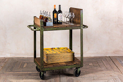 Original Vintage Distressed Shabby Chic Server Drinks Trolley With Shelves