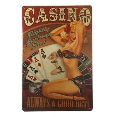 Hot Sexy Lady Pin Up Girl Casino Queen Tin Sign Poster Retro Bar Wall Decor 01