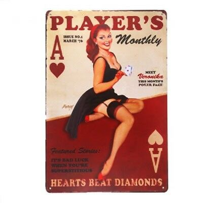 New Sexy Lady Pin Up Girl Casino Player Tin Sign Poster Retro Bar Wall Decor