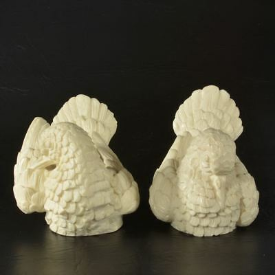 A Santini Pair Of Doves Love Bird Figurines From Italy ~ Carved White Alabaster