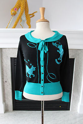 70939a4b9a3 VOODOO VIXEN NWT Black Turquoise Satin Cats Cardigan Pinup Girl Sweater S 4