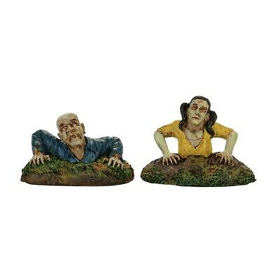 """Dept. 56 Snow Village Halloween """"RISING FROM THE DEAD"""" ~ New ~ Set Of 2 Pieces"""