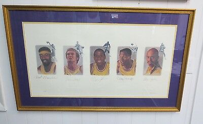 Lakes Legends AUTOGRAPHED Lithograph Framed (Wilt Chamberlain, Jerry West, Magic