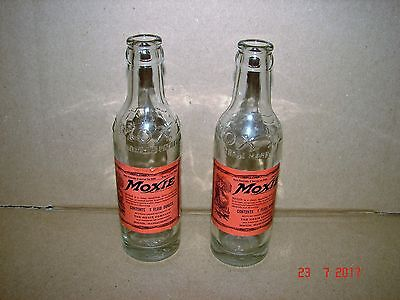 Two Old 1930s Paper Label, Small 7 Oz. Moxie Bottles, The Moxie Company, Boston
