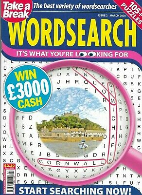 Take A Break Word Search Magazine Lots Of Puzzles Solutions In Back Free P/p (5)