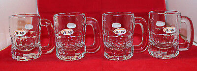 A&W Canada Advertising Root Beer Small Mini Child Glass Stein Set of 4 Vintage