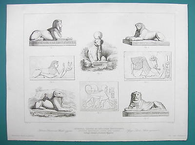 ARCHITECTURE PRINT 1850 - Egypt Sphinx Lions Lambs Sculpture Art