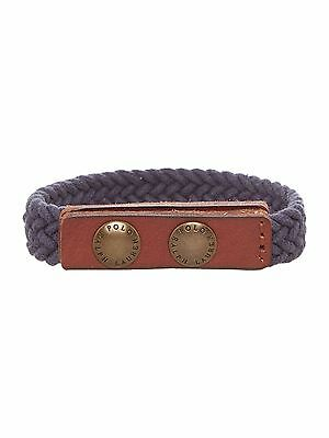 Mens $48 POLO-RALPH LAUREN Blue Braided Leather/ Cotton Wrist Strap/ wristband