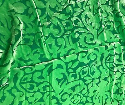 "Hand Dyed Burnout Silk VELVET Fabric Bright Kelly Green POLKA DOTS 9x22/"" remnant"