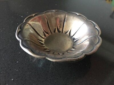 Vintage Sterling Silver Small Scalloped Flower Shape Dish For Jewelry