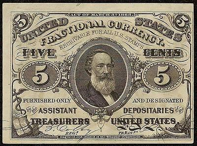 AU 5 CENT FRACTIONAL CURRENCY SPENCER CLARK NOTE 1864 - 1869 PAPER MONEY Fr 1238