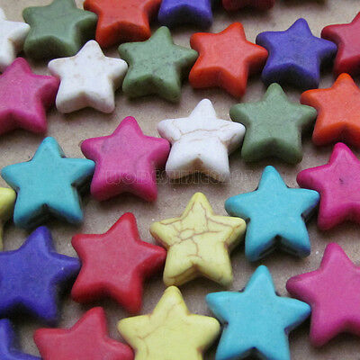 100pc 15mm Howlite Turquoise Five-pointed star Beads Wholesale Mix colour PJ029