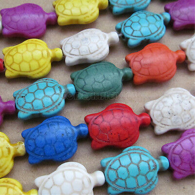 50pc 20*28mm Howlite Turquoise Double-sided Tortoises Beads Mix colour PJ026