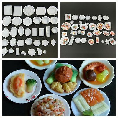 33Pcs/Set Dollhouse Miniature Tableware Plastic Plate Dishes DIY Mini Food Kit